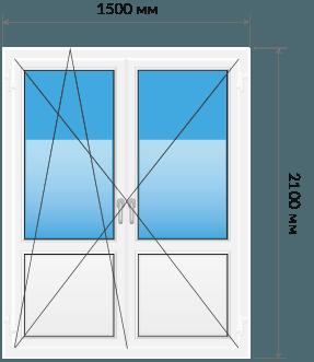 Пластиковые двери двустворчатая