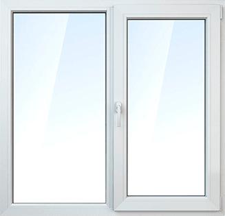 Окно двухстворчатое, IVAPER 62GRAU, фурнитура AXOR, однокамерный стеклопакет